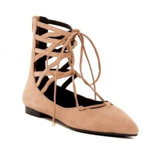 JEFFERY CAMPBELL camel suede Lace Up Flats ANKLE